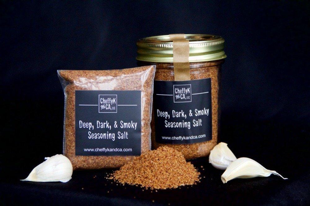 Jar and packet of Deep, Dark, & Smokey salt