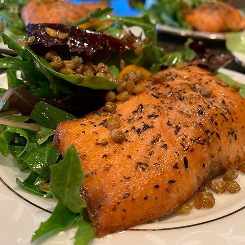 Salmon Mesclun Lentils